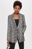 Topshop Brown Leopard Print Suit Jacket