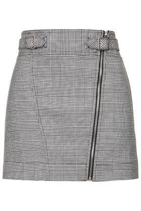Topshop Checked Biker Mini Skirt