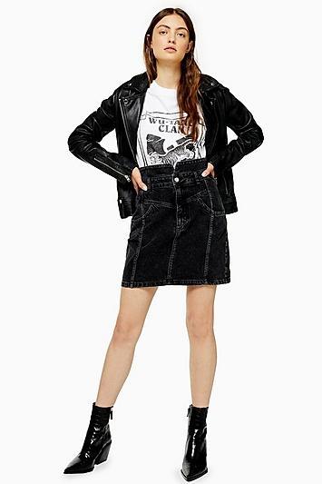 Topshop Denim Notch Waist Skirt