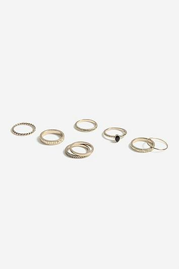 Topshop *black Stone Multipack Rings