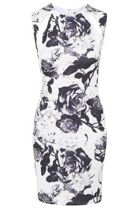 Topshop Printed Splice Bodycon Dress