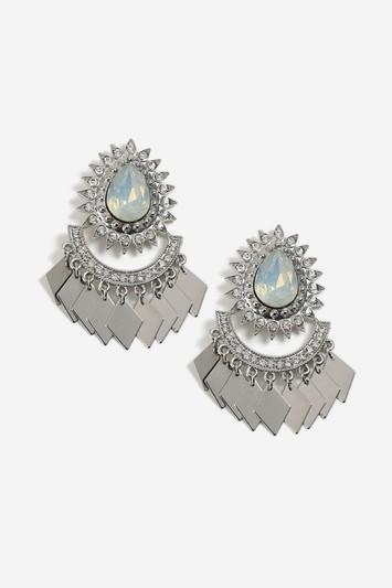Topshop Stone And Diamond Look Drop Earrings