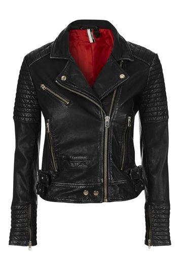 Topshop Quilted Leather Biker Jacket
