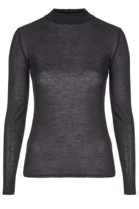 Topshop Sheer Long Sleeved Funnel Neck Top