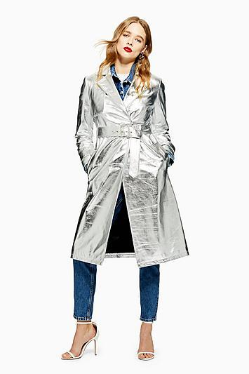 Topshop Leather Trench Coat