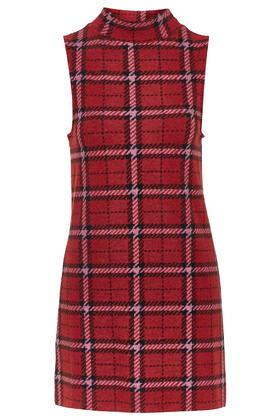 Topshop Checked Funnel Neck Tunic Dress
