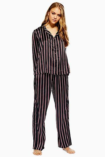 Topshop Black Satin Stripe Pyjama Trousers
