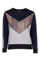 Topshop Petite Animal Colourblock Sweatshirt