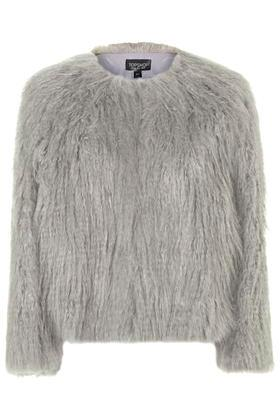 Topshop Shaggy Cropped Coat