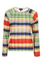 Topshop Pleated Stripe Long Sleeve Top