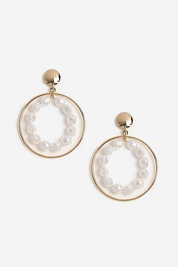 Topshop Pearl Inlay Hoop Earrings