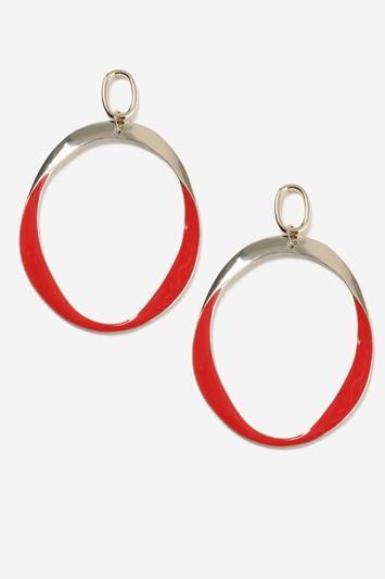 Topshop Red Drop Hoop Earrings