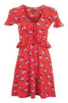 Topshop Petite Red Floral Spot Dress