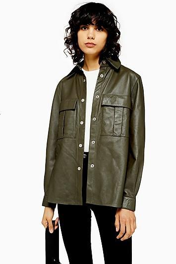 Topshop Khaki Leather Shirt