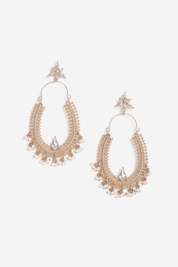 Topshop Pearl And Rhinestone Decorated Hoop Earrings