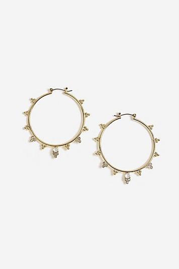 Topshop Stone Side Hoop Earrings
