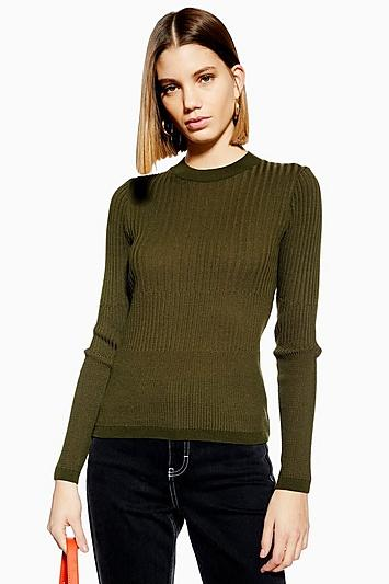 Topshop Mixed Ribbed Knitted Top