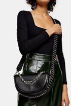 Topshop Daryl Black Chain Saddle Cross Body Bag