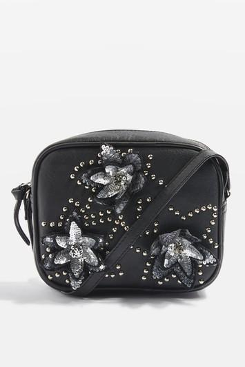 Topshop Lina Leather Sequin Flower Cross Body Bag