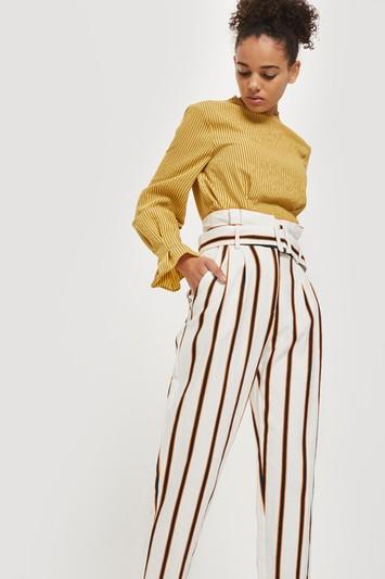 Topshop Multi Coloured Stripe Tapered Pants