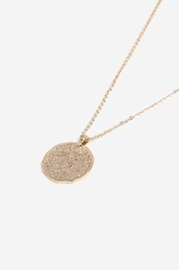 Topshop Engraved Coin Layered Necklace