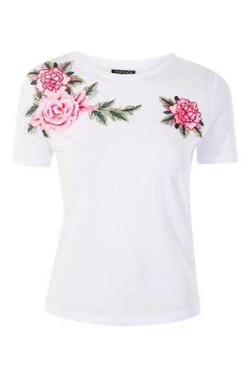 Topshop Tall Floral Applique T-shirt