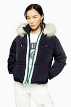 Topshop Navy Hooded Puffer Jacket