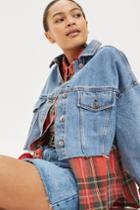 Topshop Petite Hacked Off Cropped Denim Jacket