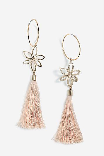 Topshop Hoop Floral Tassel Earrings