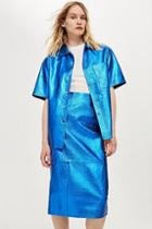 Topshop *leather Bowling Shirt By Boutique