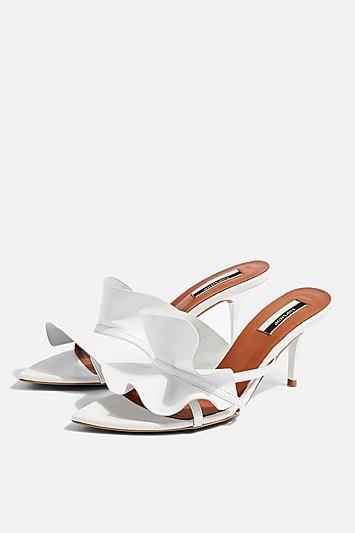 Topshop Ruffle White V Point Mules