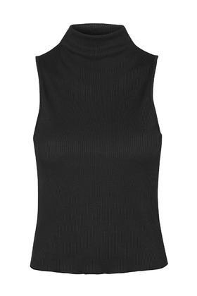 Topshop High Neck Ribbed Funnel Top