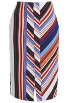 Topshop Petite Stripe Split Front Midi Skirt