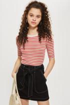 Topshop Belted Denim Skirt