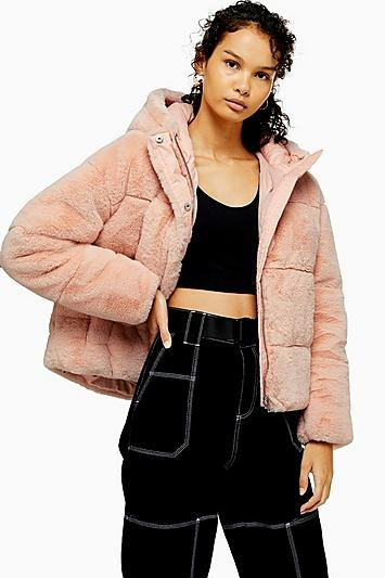 Topshop Pink Faux Fur Puffer Jacket