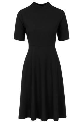 Topshop Funnel Neck Midi Dress