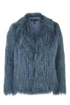 Topshop *mongolian Faux Fur Coat By Kendall + Kylie At Topshop