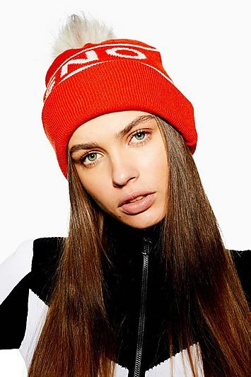 Topshop *orange Pom Beanie By Topshop Sno