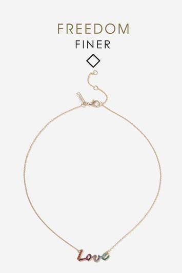 Topshop Finer Rainbow Love Necklace