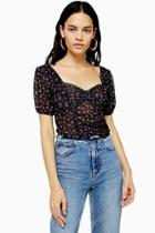 Topshop Ruched Ditsy Mesh Top