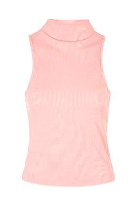 Topshop High Neck Ribbed Funnel Neck Top