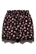 Topshop Floral Lace Trim Shorts