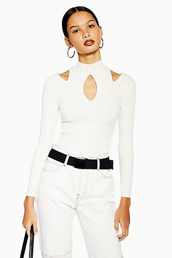 Topshop Cut Out Long Sleeve Top