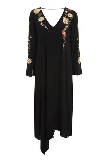 Topshop Embroidered V-back Midi Dress