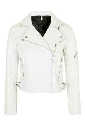 Topshop White Leather Biker Jacket
