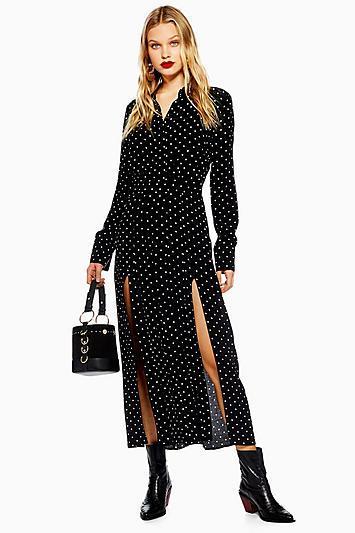 Topshop Petite Spot Pleated Shirt Dress