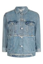 Topshop Moto Mullet Block Oversized Denim Jacket