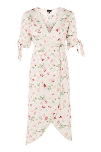 Topshop Floral Wrap Midi Dress