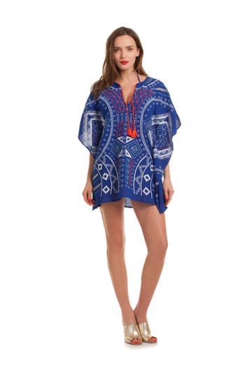Trina Turk Trina Turk Jakarta Embroidery Caftan - Blue - Size L