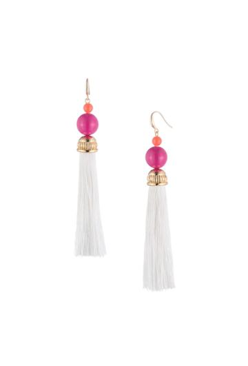 Trina Turk Trina Turk Beads In Bloom Tassel Earring - White - Size O/s